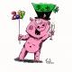 Glücksschwein2019 (Tusche, Farbe am PC)