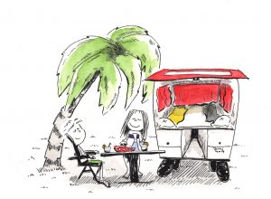Camping (Tusche, Aquarell)