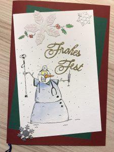 Weihnachtskarte für Ärzte2 (Tusche, Aquarell)