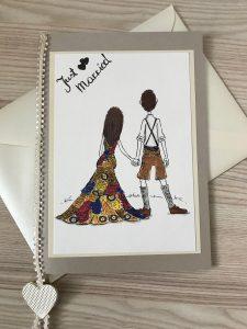 Gückwunschkarte Hochzeit (Tusche, Aquarell)