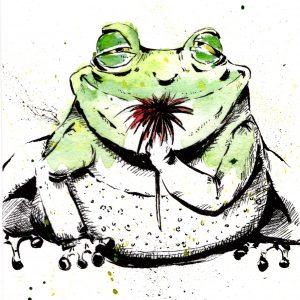 Frosch (Tusche, Aquarell)