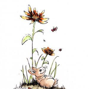 Hase und Blumen (Tusche, Aquarell)