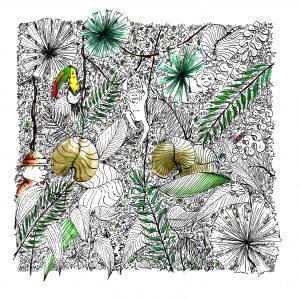 Wimmelbild Dschungel (Tusche, Aquarell)