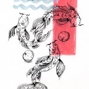 Fische Sternzeichen (Tusche, Aquarell, Pc)