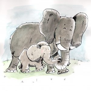 Elefantenmama mit Kind (Tusche, Aquarell)