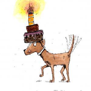 Hund mit Kuchen (Tusche, Aquarell, PC)