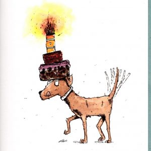 Hund mit Kuchen